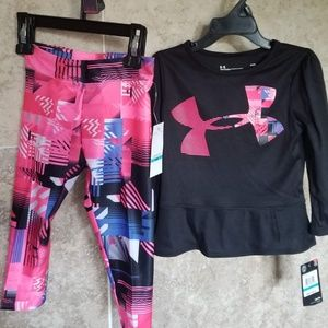 2 Pcs Set Under Armour Outfit Shirt & Leggings New